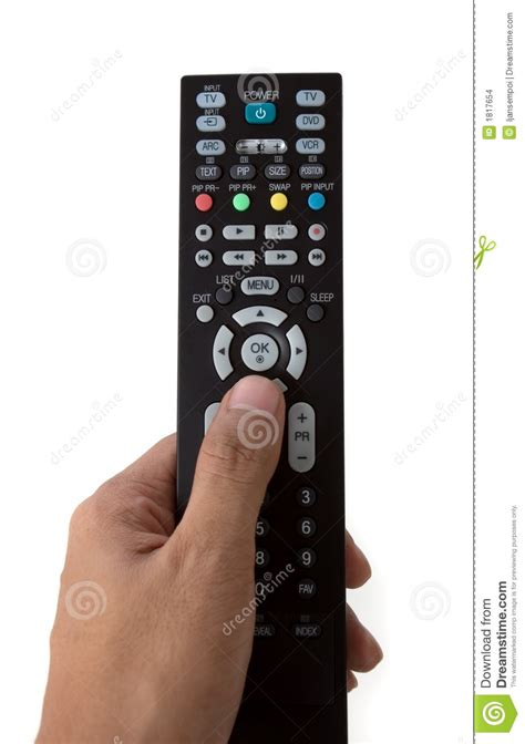 Hand Holding A TV Remote Control Stock Photo - Image of